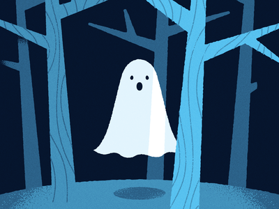 lonely lost ghost illustration halloween ghost