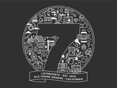 7 Years real estate icons illustration