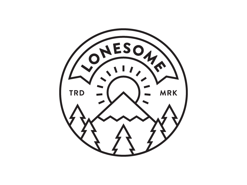 Lonesome Badge mountain outdoors badge logo sun forest adventure