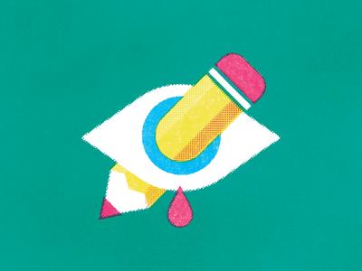 Creative Block illustration eye pencil blood halftone texture tear