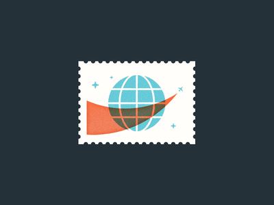 Air Mail postage illustration globe plane stamp mail airmail