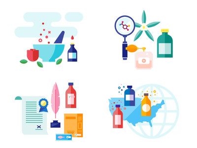 Flavor Graphics icons science globe bottles law infographic illustration