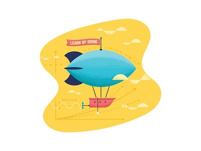 Airship sticker illustration education learn ship blimp