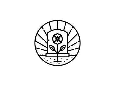 grave illustration flower headstone logo badge icon