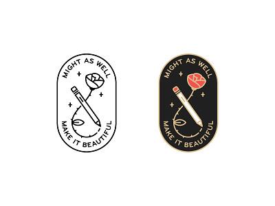 Rose icon pin lock up badge pencil rose