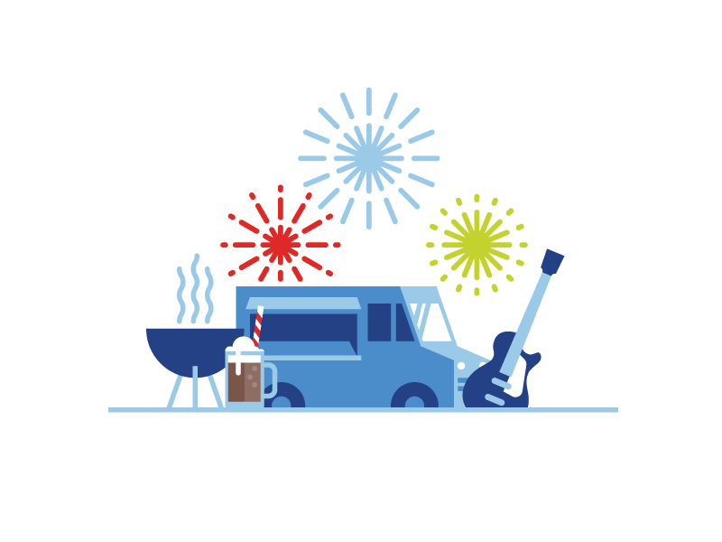Fathers Day event party logo illustration fireworks grill food truck