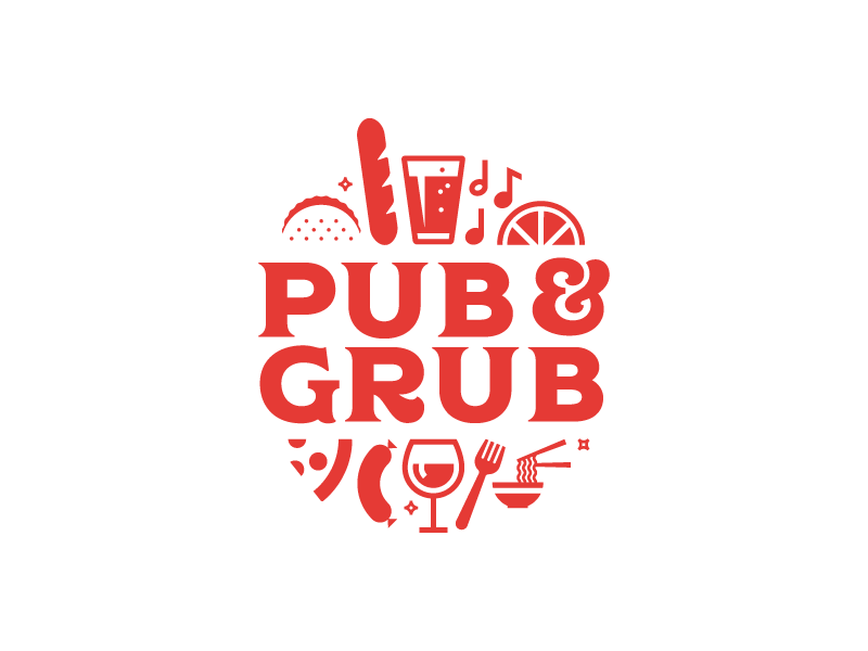 Pub and Grub pizza beer festival food logo
