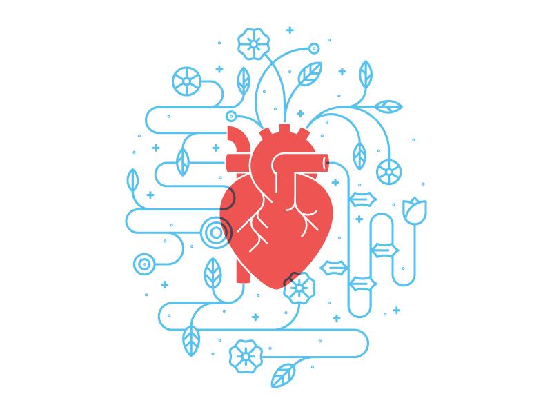 Heart illustration flowers heart