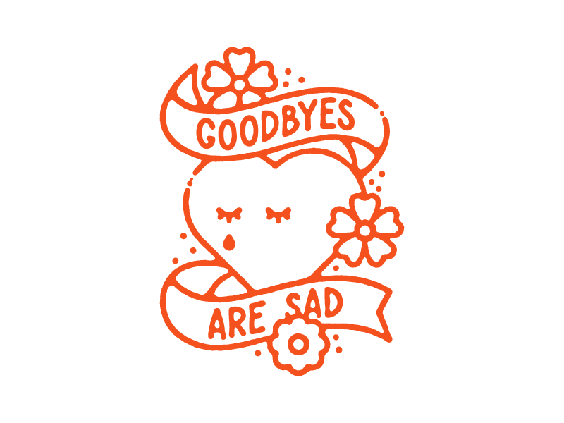 Goodbyes illustration flowers heart