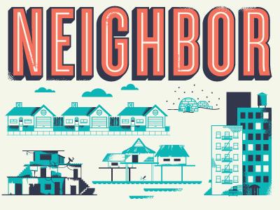 neighbor poster illustration help ink home house world globe love print