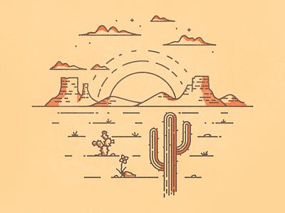 Desert Scene cactus illustration desert