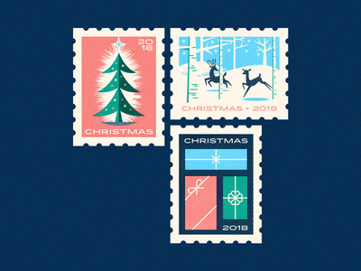 Christmas stamps mid century stamps postage christmas illustration