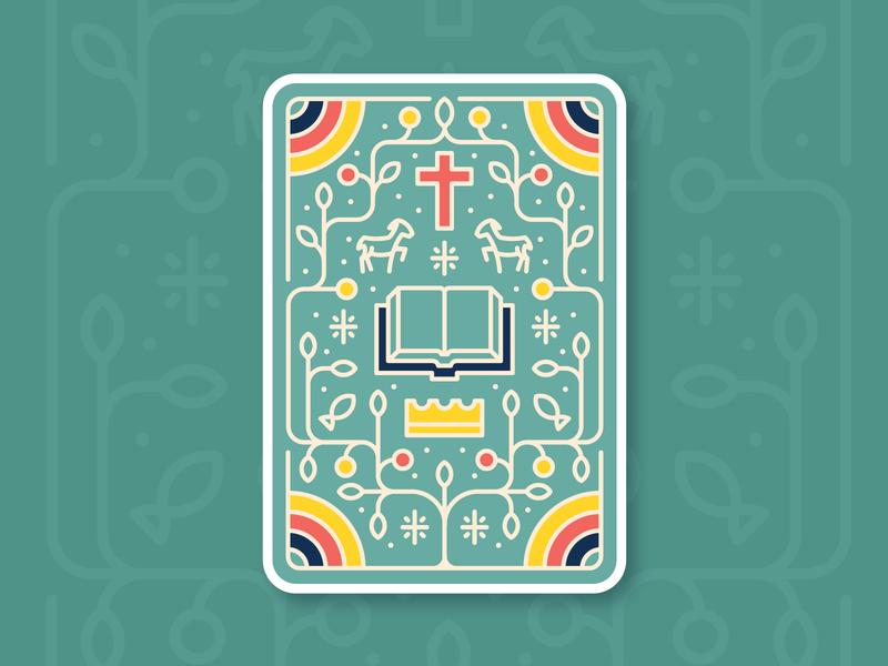Card Game Design playing card bible vine icon illustration design