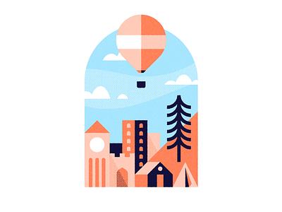 Just Drifting skyline city illustration illustrator hot air balloon