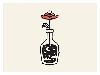 Darkness night moon icon illustration flower