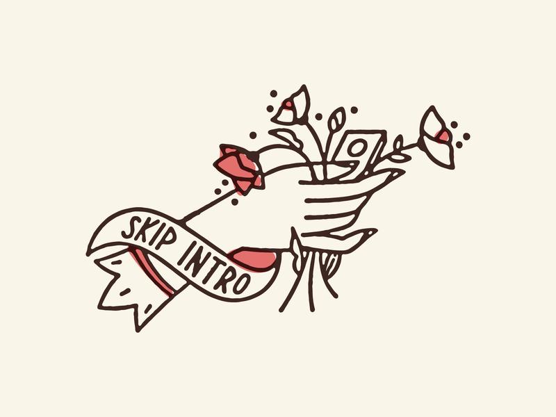 Skip Intro netflix icon flowers illustration victorian hand