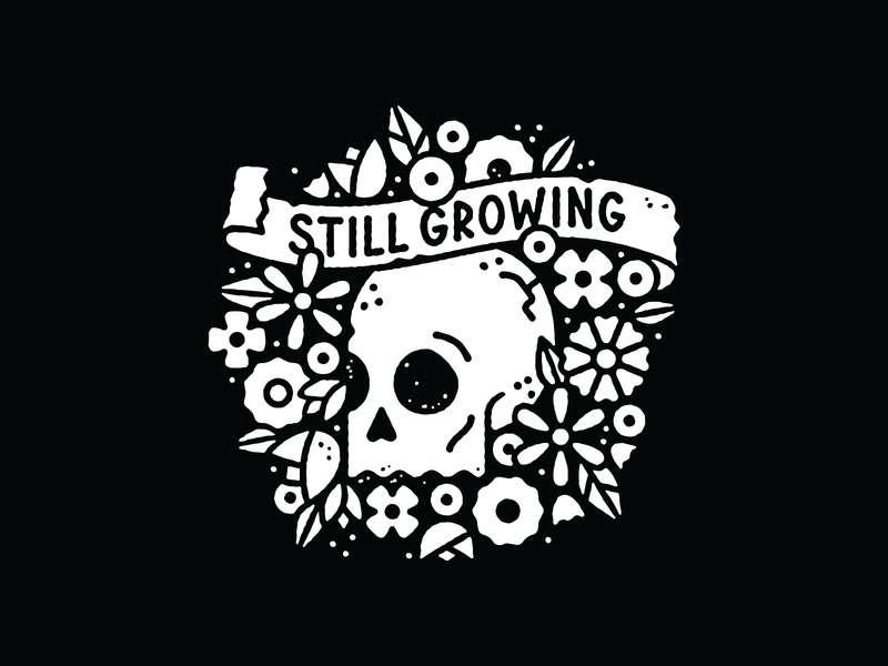 Still Growing shirt illustration flowers wreath skull