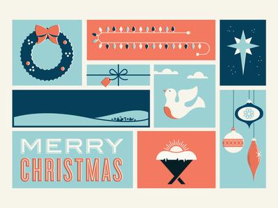 Unfinished christmas wreath illustration mid-century star dove manger jesus gift card