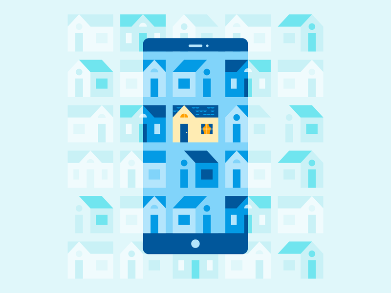House Hunting illustration smartphone phone app realty real estate house