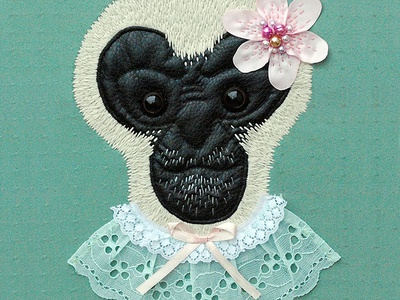 Gibbon monkey leather animal embroidery thread 3-d lace hair fur ape