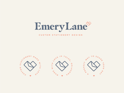 Emery Lane envelope typography logotype savethedate stationary heart logodesign wedding invitation invite logo