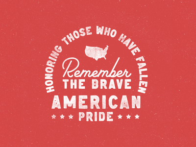 Memorial Day Type fallen brave pride map white red america usa typography vector design badge vintage texture type