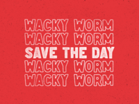 Wacky Saves the Day outline bass worm wacky america vector typography fishing oklahoma design vintage texture type