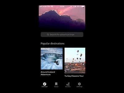 Discover screen overview — Travel & Tour Booking App experiment app design concept after effects animation app ios mobile tour travel