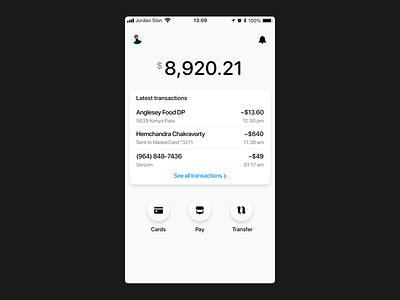Bank App Exploration • Main Screen zero waste ios app design money cash minimalist minimal bank app app bank