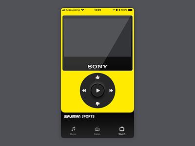 SONY WALKMAN/WATCHMAN SPORTS skeuomorphic skeuomorph ui design tv app tv sony walkman watchman