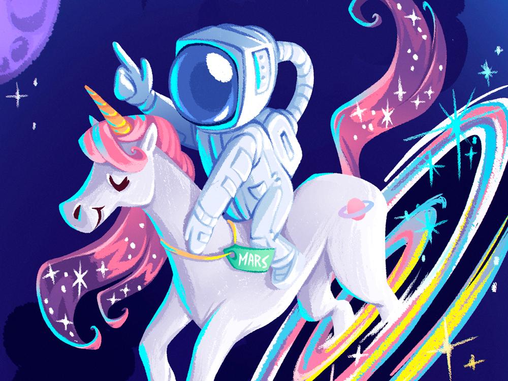 Galaxy of Fantasy 2d art digital art character cifaela cute cute art rainbow fantasy character design design illustration space astronaut unicorn