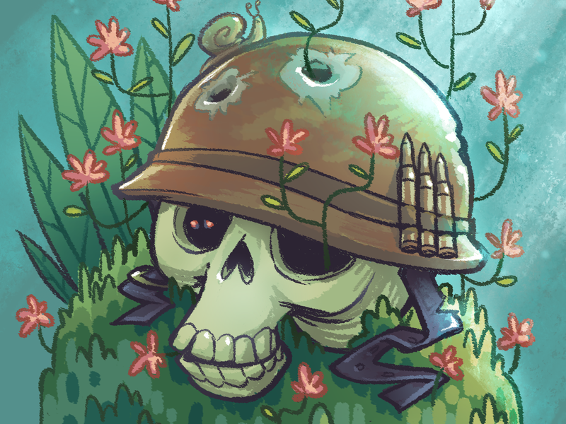 """Rest in peace, bro."" skull lost helmet slug soldier rip war character design illustration cute digital art cifaela 2d art"