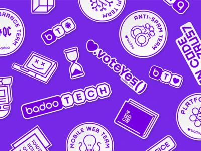 badoo_tech idetity badoo tech it purple monochrome illustration branding identity