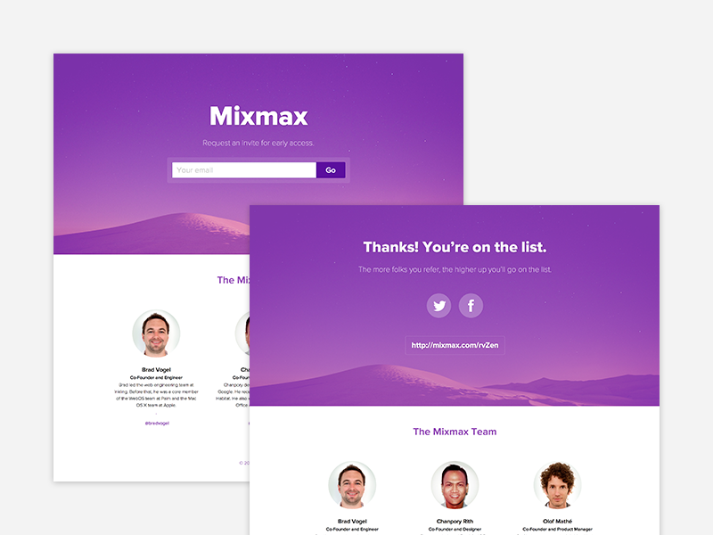 Mixmax Teaser landing page teaser purple single page web startup retina