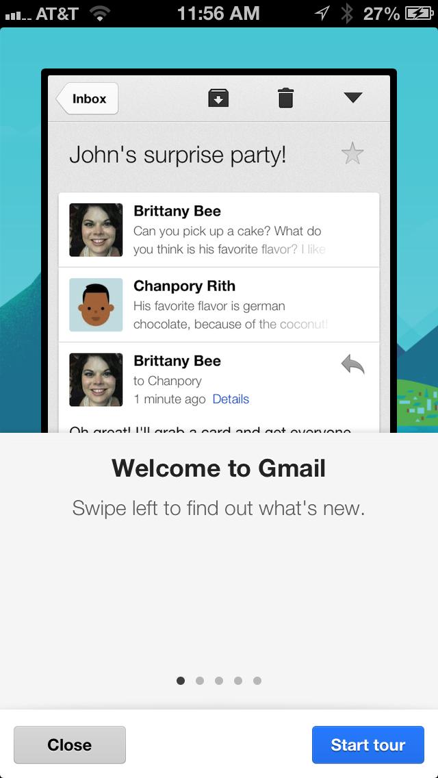 Gmail product tour screenshot