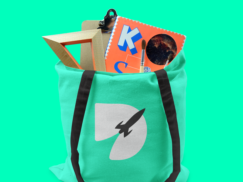 DECOLA | TOTE BAG flat illustration graphic design branding logo vector typography design