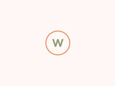 Waterhouse Salon Icon orange color monogram minimalist minimalism w clean modern minimal circle. simple
