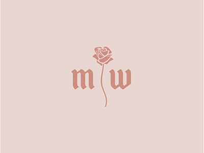 MW Monogram pink color logo icon logo illustration flowers w m retro vintage florals rose icon branding floral