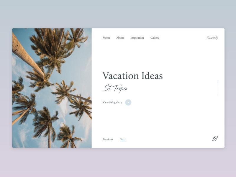 Vacation Ideas typogaphy summer logo landing page web design ui ux simple aesthetic