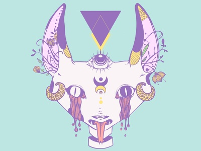 Cat With Serpent Tongue And Third Eye strange ipad illustration vector geometric triangle tongue serpent scales snake cat third eye