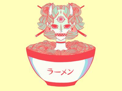 Monster Oni Girl + Ramen Noodle Bowl Illustration