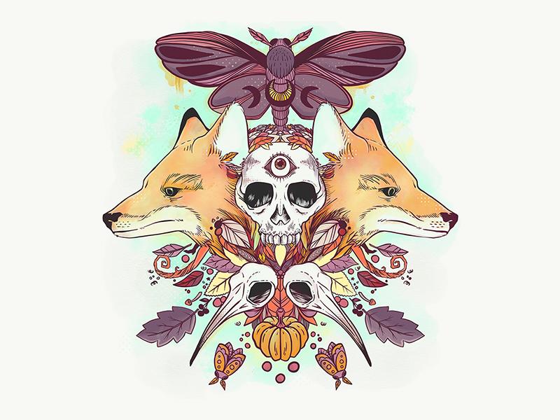 Foxes & Skulls Autumn Illustration fall autumn skulls moth fox foxes digital art artsy artist adobe sketch drawing ipad artwork ipad art illustration apple pencil adobe draw