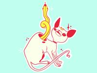 Sphynx Cat & Snake Vector Illustration
