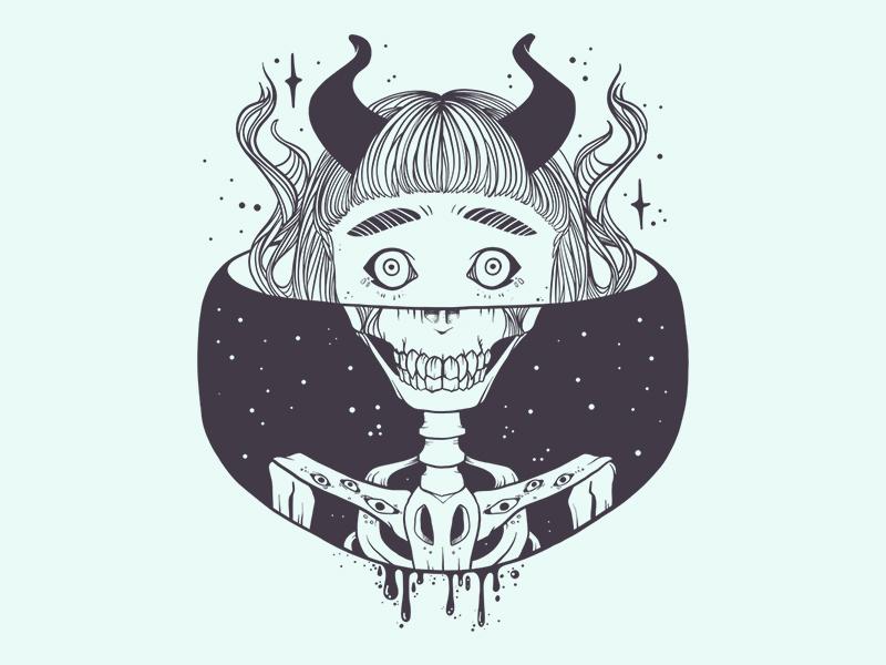 Skeleton Girl Vector Illustration By Jennifer O Toole Dribbble