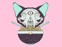 Cat Skull Ramen Noodle Bowl