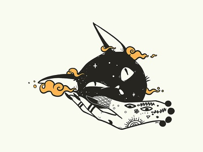 Black Cat And Witch Hand Illustration magic witchcraft witchy wiccan witch procreate app procreate black cat cat digital art drawing ipad artwork ipad art illustration apple pencil