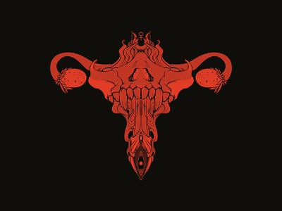 Death Metal Uterus feminist feminism tshirt design black metal death metal metal black red illustraion art artwork drawing apple pencil ipad procreate ovaries uterus