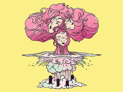 Bomb Cloud Girls art procreate strange art strange digital art illustrator tshirt design drawing ipad artwork ipad art illustration apple pencil