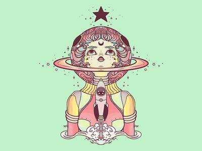 Astronaut Star Girl iPad Artwork girl illustration ipadart rocket stars girl astronauts astronaut digital art illustrator tshirt design drawing ipad artwork ipad art illustration apple pencil