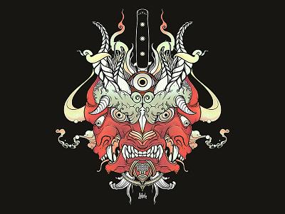 Oni Demon heavy metal metal band art album artwork album art demon monster oni tshirt design strange drawing ipad artwork ipad art illustration apple pencil